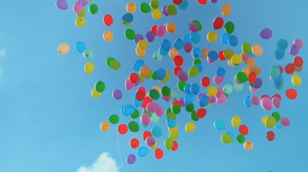 Balloons released in the sky